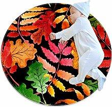 Teppich mit Ahornblatt-Blättern, Grün, Rot,