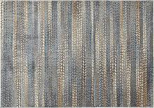 Teppich mit blauem, braunem und grauem