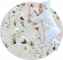 Teppich mit Blumen- und Schmetterlingsmotiv, rund,