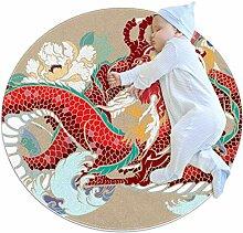 Teppich mit Buntem Drachen und