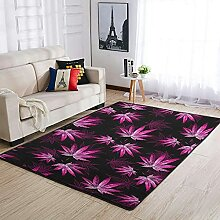 Teppich mit Cannabisblatt-Pflanze, rutschfest,