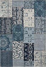 Teppich mit Chenilleeffekt, blau (200/280 cm)