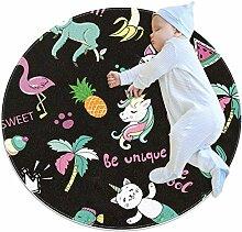 Teppich mit Einhorn-, Flamingo-Toukan-, Katzen-,
