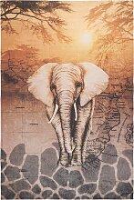 Teppich mit Elefant, beige (155/230 cm)