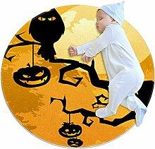 Teppich mit Eulenmotiv, Kürbisbaum, Halloween,