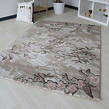 Teppich mit Floral Blumen Blüten Muster in Lila Grau Design in verschiedenen Farben, Designer Teppich mit Öko-Tex für Schlafzimmer und Wohnzimmer (200 x 290 cm)