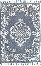 Teppich mit Fransen Indra, blau (60/110 cm)
