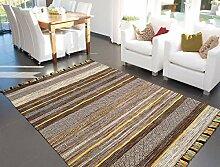 Teppich Mit Fransen Kilim Bunt Streifen Design