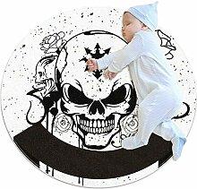 Teppich mit Horror-Totenkopf-Motiv, schwarz,