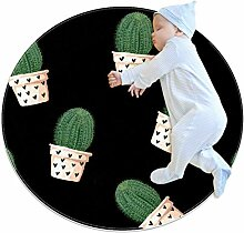 Teppich mit Kaktus und Herzen, rund, für