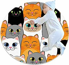Teppich mit Katzen-Muster, grau/weiß/schwarz,