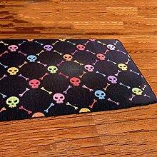 Teppich mit klassischem Musterbereich Teppich Moderner TeppichTrend Europa Und Die Vereinigten Staaten Personalisierte Retro Cartoon Skeleton Teppich Schlafzimmer Bett Reiben Fuß Matten Dirty Wohnzimmer Teppich