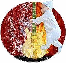 Teppich mit Musikgitarre, Feuerwasser, rund, für