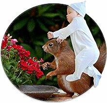 Teppich mit niedlichem Eichhörnchen-Motiv, rund,