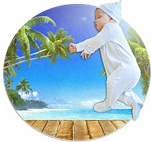 Teppich mit Palmen-Sonne, rund, für Kinderzimmer,