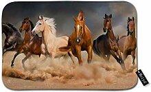 Teppich mit Pferdeherdenauslauf in Wüstenwüste,