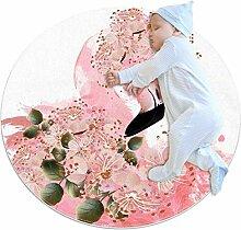 Teppich mit rosa Flamingo- und Blumenmotiven,
