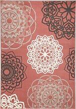 Teppich mit runden Ornamenten, rosa (80/150 cm)