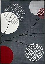 Teppich mit stilisierten Blüten, grau (135/190 cm)