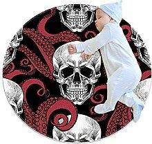 Teppich mit Totenkopf- und Tentakel-Motiv, rund,