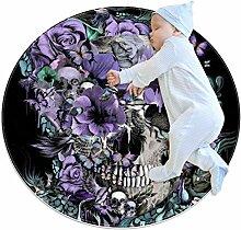 Teppich mit Totenkopf- und violetten Blumen, rund,