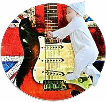 Teppich mit UK-Flagge und Gitarre, rund, für