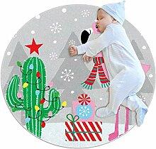 Teppich mit weihnachtlichem Flamingo-Kaktus, rund,