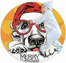 Teppich mit Weihnachtsmütze, Brille, Hund, rund,