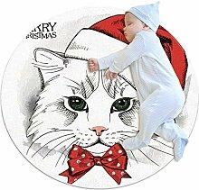 Teppich mit Weihnachtsmütze, Krawatte, Katze,