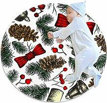 Teppich mit Weihnachtszweigen, rund, für