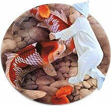 Teppich mit zwei Koi-Ahornblättern, rund, für
