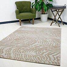 Teppich Modern Abstrakt Beige Vintage Kurzflor verschiedenen Größen mit 3D-Struktur Hoch-Tief hochwertige Webung (160 x 230 cm)