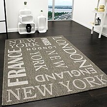 Teppich Modern City Sisal Optik Flachgewebe Designer Teppich in Grau, Grösse:80x150 cm