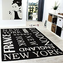 Teppich Modern City Sisal Optik Flachgewebe Designer Teppich in Anthrazit, Grösse:160x220 cm