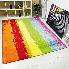 Teppich Modern Design Kurzflor Multicolor Gestreift in Rot Grün Gelb – VIMODA; Maße: 120x170 cm