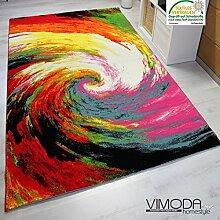 Teppich Modern Design Kurzflor Multicolor Kreis Wirbel in Rot Grün Gelb – VIMODA; Maße: 80x150 cm