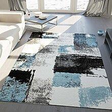 Teppich Modern Designer Abstrakt Kariert Meliert Farbe Turkis Grau Schwarz – VIMODA; Maße: 120x170 cm