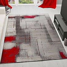 Teppich Modern Designer Abstrakt Meliert Farbe Rot Grau – VIMODA; Maße: 80x300 cm