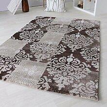 Teppich Modern Designer Kurzflor Versace für Wohnzimmer & Jugendzimmer 12mm Florhöhe. Design Teppich Schwarz Grau Beige Braun mit Öko-Tex Zertifikat (80 x 150 cm, Beige)