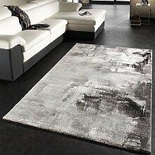 Teppich Modern Designer Teppich Leinwand Optik Grau Schwarz Weiss Meliert, Grösse:160x230 cm