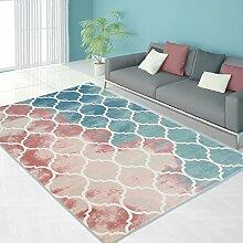 Teppich Modern Designer Wohnzimmer Schlafzimmer Läufer Inspiration Vintage Novel Pastell Blau Rosa , Größe in cm:120 x 170 cm