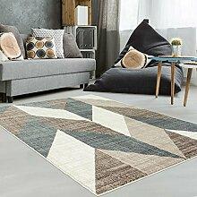 Teppich Modern Designer Wohnzimmer Schlafzimmer Läufer Inspiration Way Vintage Pastell Braun , Größe in cm:80 x 300 cm;Farbe:Beige