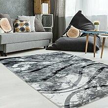 Teppich Modern Designer Wohnzimmer Schlafzimmer Läufer Inspiration Banderol Welle Grau Creme NEU, Größe in cm:80 x 150 cm