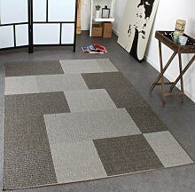 Teppich Modern Flachgewebe Kariert Sisal Optik Designer Teppich Grau Töne, Grösse:80x150 cm