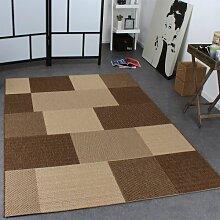 Teppich Modern Flachgewebe Karo Sisal Optik Designer Teppich Natur Beige Creme, Grösse:60x110 cm