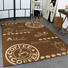 Teppich Modern Flachgewebe Sisal Optik Küchenteppich Coffee Braun Beige Töne, Grösse:160x220 cm