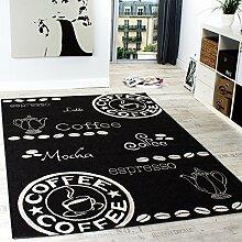 Teppich Modern Flachgewebe Sisal Optik Küchenteppich Schwarz Weiß, Grösse:200x280 cm