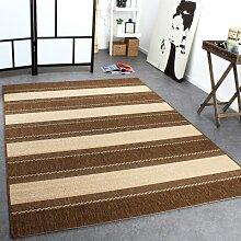 Teppich Modern Flachgewebe Streifen Sisal Optik Designer Teppich Beige Creme, Grösse:60x110 cm