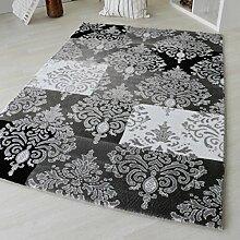 Teppich Modern für Wohn und Jugendzimmer. Kurzflor mit 12mm Florhöhe in versch. Größen. Modernes Versace Design. Pflegeleicht mit Öko-Tex Zertifikat (200 x 290 cm, Schwarz)