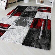 Teppich Modern für Wohnzimmer mit Kurzflor Konturenschnitt handgecarvt in Rot Weiß Muster Webteppich Designer in verschiedenen Größen mit Öko-Tex (200cm x 290cm)